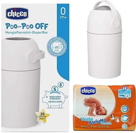 CHICCO New Born Pack: Cubo para pañales Odour Off Plata – geruchsdichtes Sistema, las bolsas verwendbar + Chicco pañales recién nacidos Talla 1 (2 – 5 kg): Amazon.es: Bebé