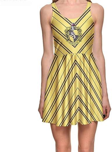 Jzlyqun Vestido Moda Tallas Grandes Mujeres Crown Shield Vestidos Amarillos Y Negros Estampado Digital Vestido Skater Vestidos Ventas Al Por Mayor Amazon Es Ropa Y Accesorios