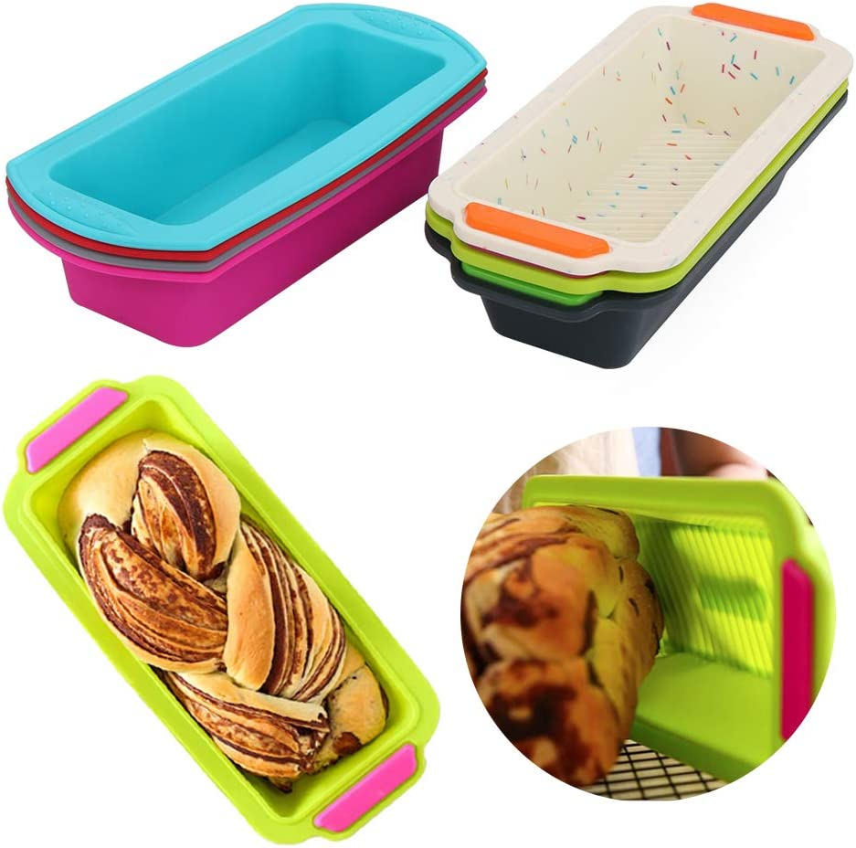 Tostada de silicona para hornear pan bandeja de torta de pan molde rectangular de la torta del molde para hornear antiadherentes para hornear Herramientas azul