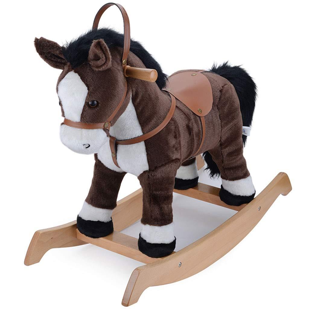 YangMi 子供用 木製 馬 - 子供用ぬいぐるみ 木製 馬のおもちゃ 屋内 子供 子供 ギフト 78x33x61cm YangMi-00201 78x33x61cm ダークブラウン B07QF6QXZK