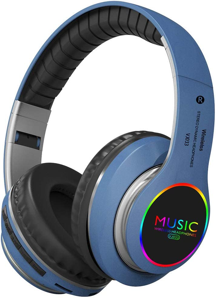 SUGEER Bluetooth Wireless Sharing Headphones HiFi Bass Wired Headset w/Mic Color Changing LED Light On Ear Noise Isolating Soft Comfort Earpads TF Slot&Wired Mode for PC Cellphone