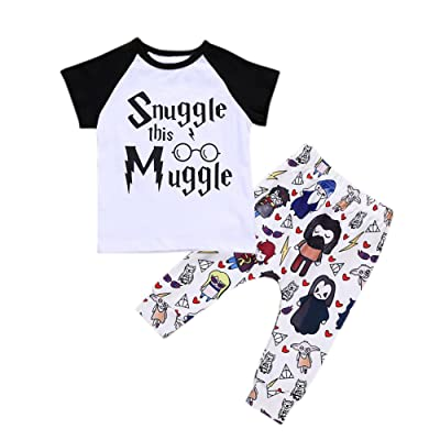 Fashionwu Baby Kids Clothes Soft Cotton Set Cartoon Letter Printing T-Shirt + Long Pants Casual 2 Pcs Set