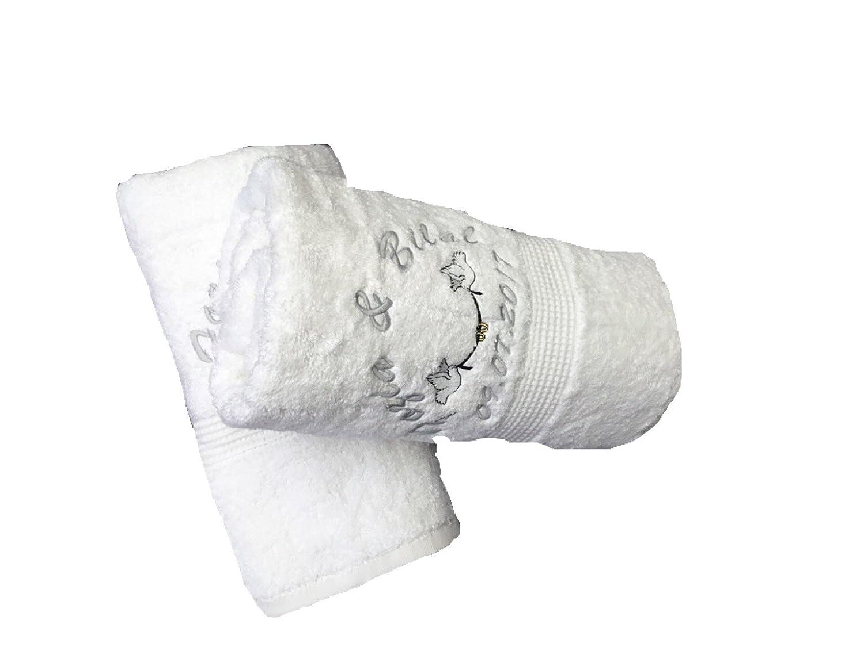 Personalizado Bordado Blanco Toalla De Mano Juego de regalo de boda - diseño de palomas: Amazon.es: Hogar