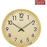 Ajanta Quartz Wall Clock (32 cm x 32 cm x 2 cm, Ivory Dial and Golden Rim)