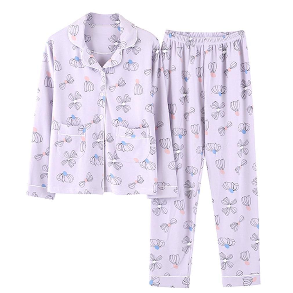 MOXIN Womens Pure cotton Long Sleeve Sleepwear Nightwear Pajama Set , M , A