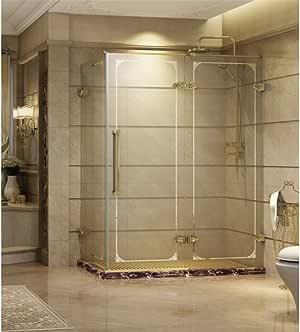 Cabina de ducha con puerta corrediza rectangular, de vidrio templado decorado, vidrio transparente de seguridad de 8 mm, con perfiles ajustables de 10mm.: Amazon.es: Bricolaje y herramientas