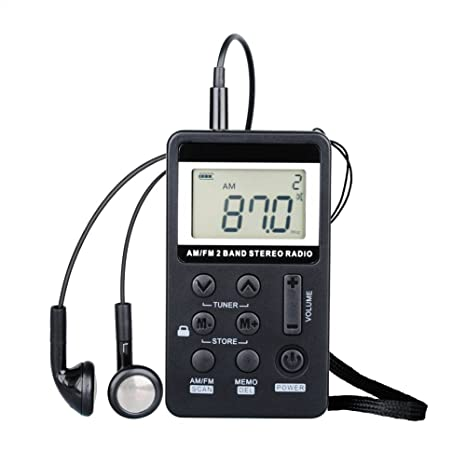 Portable Personal Radio AM/FM Digital Tuning with Landyard and Earphone Rechargeable Battery for Walking