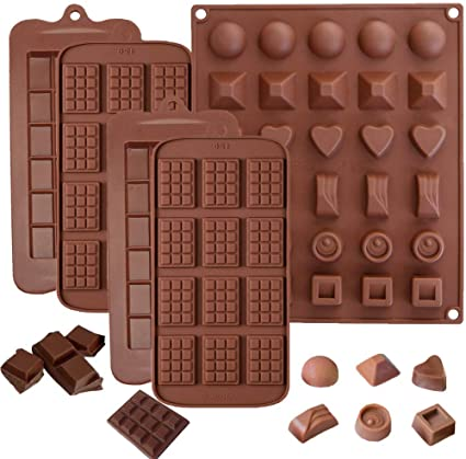 5pcs moldes de silicona para chocolate,Moldes de Bombones de Silicona, antiadherentes, antiroturas, proteínas y barra de energía, bandeja para cubitos ...