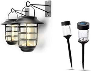 Home Zone Security Solar Wall Lantern and Pathway Light Bundle