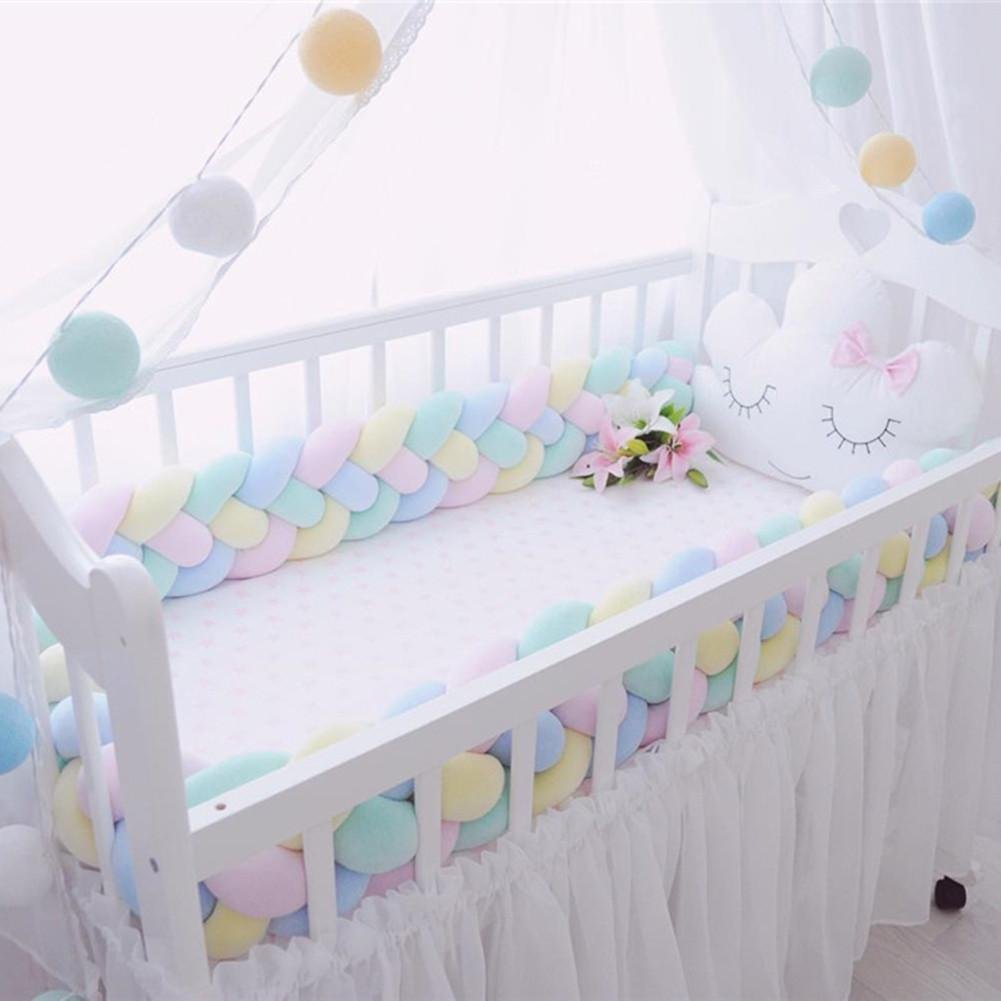 4 Weben Baby Krippe Sto/ßstange Nestchenschlange f/ür Babybett Kinderbett Bettausstattung 2 M,Grau GLITZFAS Bettumrandung