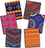 New Generation - Ethnic - 1 Subject 70 Sheets 8'' x 10.5'' wirebound Spiral Notebook, 6 PACK,COLLEGE Ruled, Heavy Duty UV Laminated covers,3 Hole Punch, (6 PACK SPIRAL NOTEBOOK COLLEGE RULED)