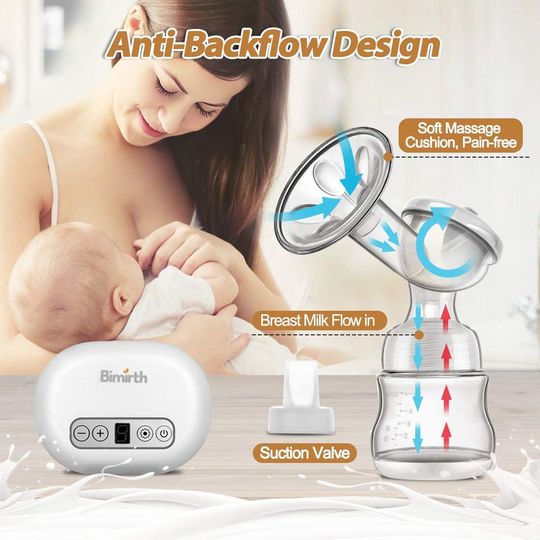 Breastfeeding Milk Pump with Backflow Prevention Bimirth Electric Breast Pump BPA Free Single Driven by USB Power 2 Modes//14 Levels of Suction for Fast /& Comfortable Milk Expressing