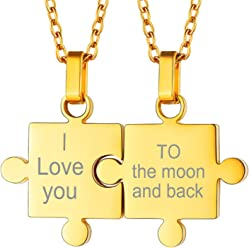 e3d7706dac U7 Customized Puzzle Necklace Set of 2 Best Friends BFF Jewelry Stainless  Steel Personalized Couple Set