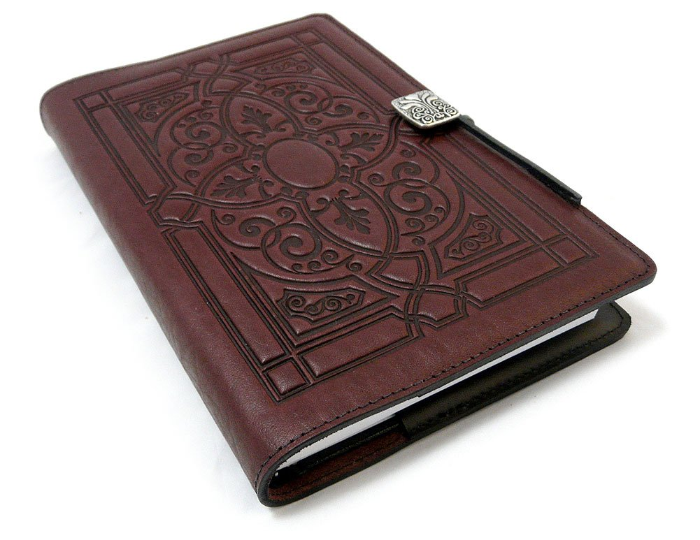 Florentine Embossed Leather Writing Journal, Wine Color, American Made, 6 x 9-inch + Refillable Hardbound Insert Book