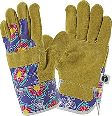 West Chester Miracle-Gro MG23011 Split Cowhide Leather Landscaping Work Gloves: Purple/Floral Print, Women's Medium/Large, 1 Pair
