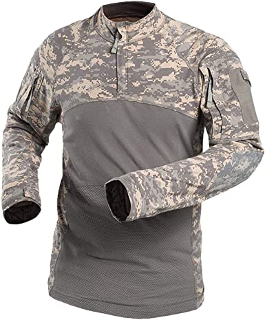 Kaiyei Camisas Tactica Militar para Hombre Mujer Manga Larga Slim Fit Camuflaje Combate Resistente Desgaste Camisetas con 1/4 Cremallera Camping ...