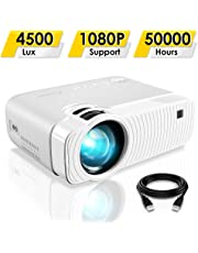 "ELEPHAS Projector, GC333 Portable Projector with 4500 Lux and Full HD 1080p, 180"" Display and 50000 Hours Lamp Life LED Video Projector, Compatible with USB/HD/Sd/Av/VGA for Home Theater, White"