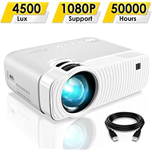 """ELEPHAS Projector, GC333 Portable Projector with 4500 Lux and Full HD 1080p, 180"""" Display and 50000 Hours Lamp Life LED Video Projector, Compatible with USB/HD/Sd/Av/VGA for Home Theater, White"""