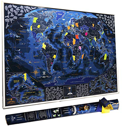 (Wanderlust map Premium with world Flags Scratch Off map 35x25 Inches Discovery Edition Large World map Travel map Push pin map for Travelers Laminated by Mymap)