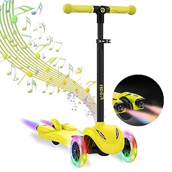 Hiboy Patinete de 3 Ruedas,Scooter con Ruedas LED Iluminadas,Música y Humo Colores para niños +3 Años, Amarillo: Amazon.es: Juguetes y juegos