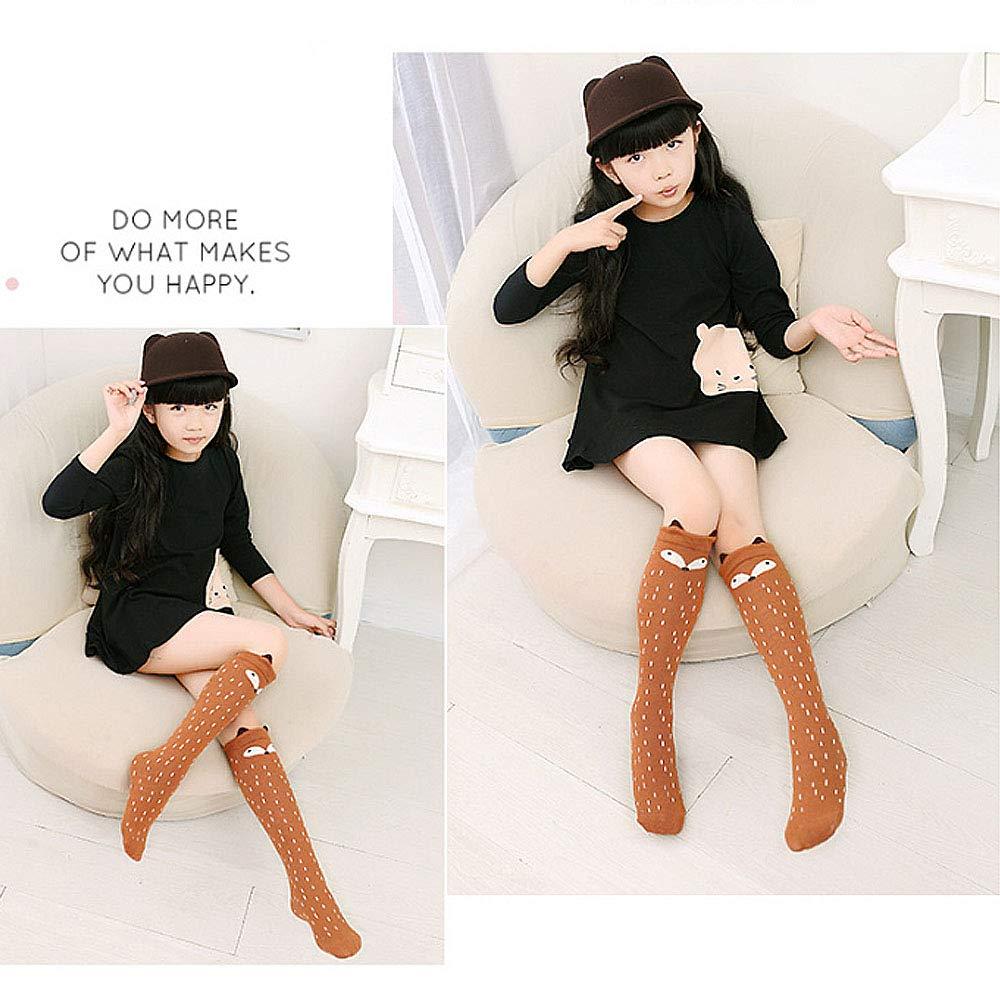 Adela 3 PCS Girl Fall Winter Cotton Knee High Socks Children Cat 3D Cartoon Cuff Soft Long Stockings