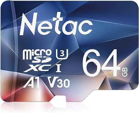 TALLA 64 GB. Netac Tarjeta de Memoria de 64GB, Tarjeta Memoria microSDXC(A1, U3, C10, V30, 4K, 667X) UHS-I Velocidad de Lectura hasta 100 MB/s, Tarjeta TF para Móvil, Cámara Deportiva, Switch, Gopro, Tableta