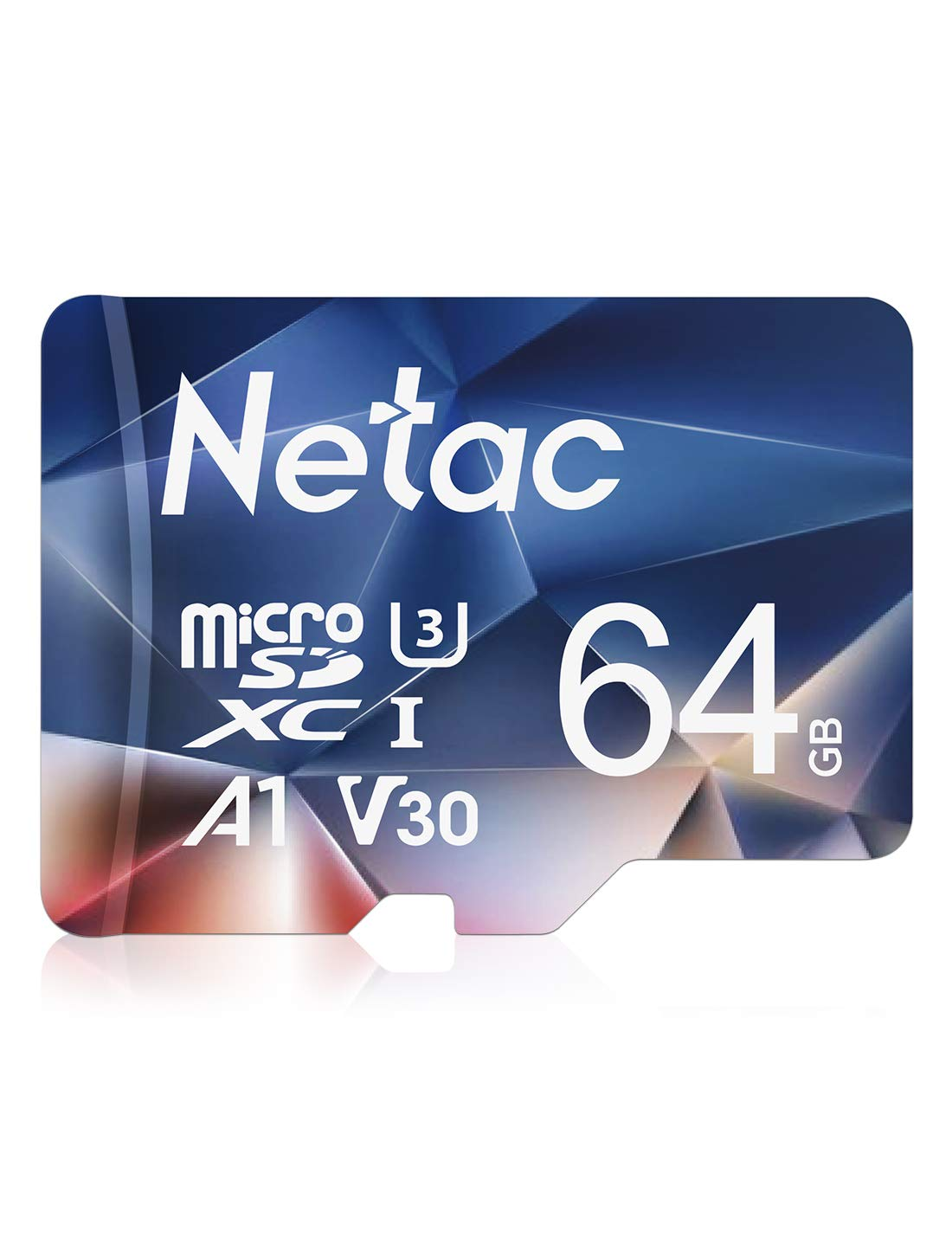 Netac 64GB Micro SD Card, MicroSDXC UHS-I Memory Card - 100MB/s, 667X, U3, Class10, Full HD Video V30, A1, FAT32, High Speed Flash TF Card P500 for Laptop/Bluetooth Speaker/Tablet/Smartphone/Camera