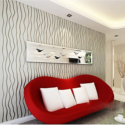 QIHANG High-grade Thick Vinyl Flocking Curve Series Vertical Stripes Wallpaper Roll Silver&gray Color 1.73' X 32.8' = 57 Sq.ft