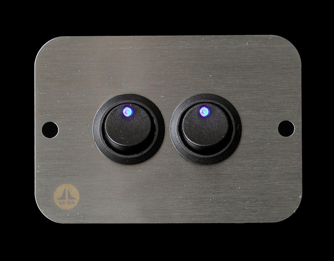 Lek Tek caravana autocaravana barco 12 V Azul LED doble interruptor Panel