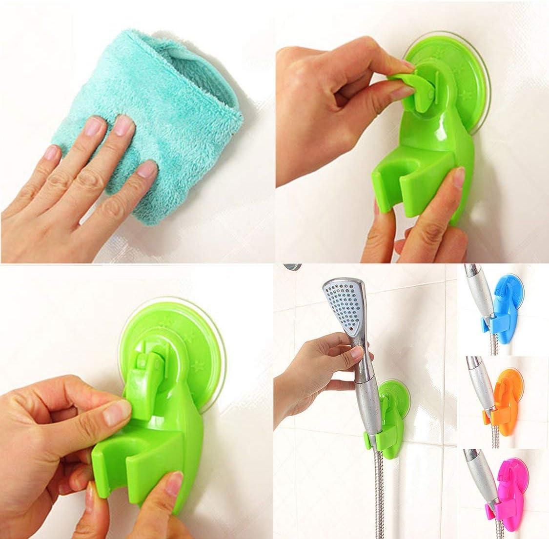Robusto ventosa per doccia con base di fissaggio Soffione per doccia Staffa per rack Pratico soffione per doccia Accessori per il bagno Verde