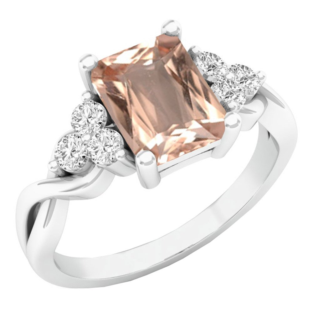 Sterling Silver 8X6 MM Emerald Cut Morganite & Round White Sapphire Engagement Ring (Size 4.5)
