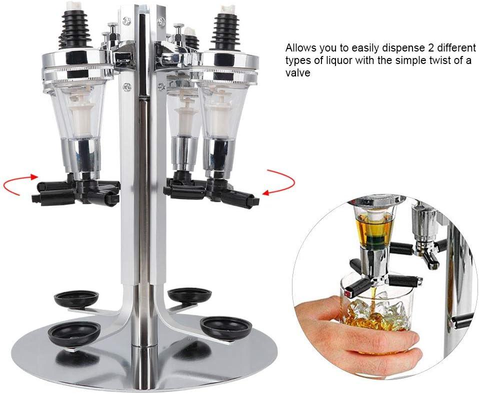 4 Bottle Liquor Dispenser Revolving Liquor Holder Alcohol Beverage Cocktail Shot Dispenser Wine Holder with Rotating Stand for Home Bar Party