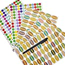 Mudder Waterproof Essential Oils Bottle Stickers Labels Oval-shaped and Round Stickers with Marker Pen, 5 Sheet