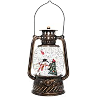 Melunar Christmas Snow Globe Lantern with Swirling Glitter and Battery & USB Powered Light 6H Timer for Christmas Home Decoration and Gift (Christmas Tree and Snowman)