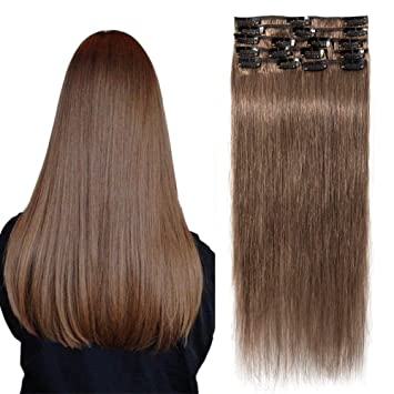 günstigster Preis Wählen Sie für authentisch beste Qualität TESS Echthaar Extensions Clip in Mittelbraun #6 Remy Haar Extensions  guenstig Haarverlängerung 18 Clips 8 Tressen Lang Glatt, 14