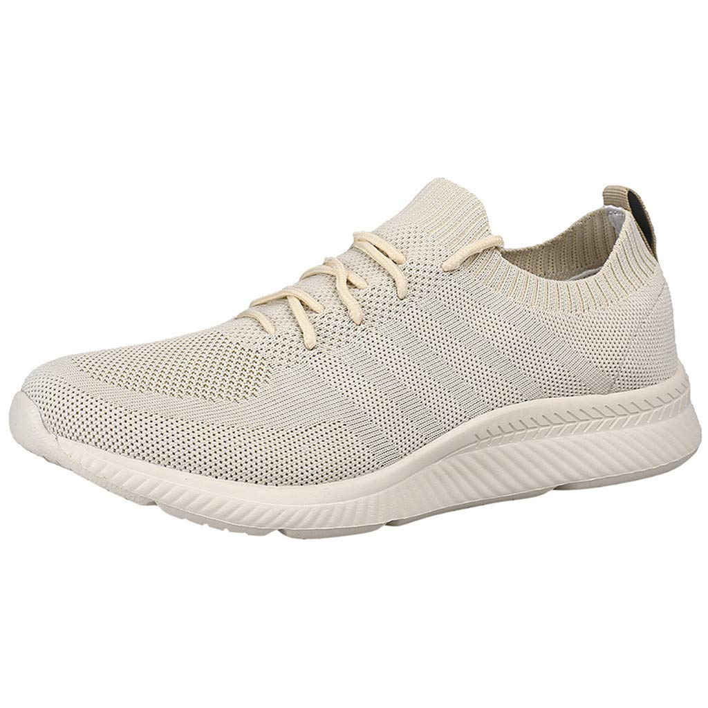 2019 Summer New Womens Casual Breathable Mesh Shoes,Outdoor Lace-Up Lightweight Running Walking Soft Sport Sneakers Shoes (Khaki, US:8) by AuroraX Shoes
