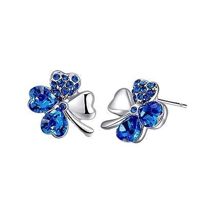 Regalo de Navidad MONDAYNOON Pendientes Mujer Cristal Trébol Azul Regalo Chica Amor Joyería (azul)