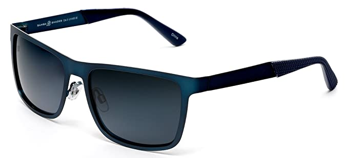 c1257a46a81 Samba Shades Polarized Classic Sunglasses Razor Thin Brushed Metal  Stainless Matte Blue Steel