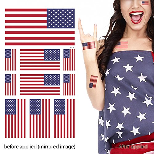 g Temporary Tattoo Kit, USA Flag Temporary Tattoos (10 flags with white ink) - Set of 2 (Usa Rocks American Flag)
