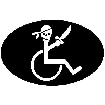 """StickerJOE Handicap Pirate in Wheelchair Funny Sticker 5"""" X 3"""": Automotive"""