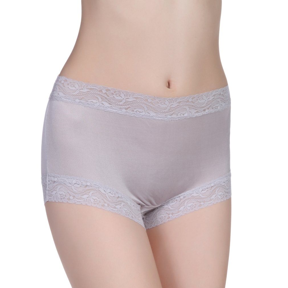 16846fc0c3f TALE KING Women's Silk Panties with Lace, Mid-Rise Knitted Silk Briefs for  Girls, Sexy Pure Silk Knickers Underwear (Grey Large) at Amazon Women's  Clothing ...