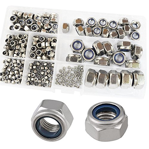 Nylon Lock Nuts Metric Threaded Self-Locking Hex Insert Locknut 304 Stainless Steel Assortment Kit,240Pcs M2 M2.5 M3 M4 M5 M6 M8 M10 M12
