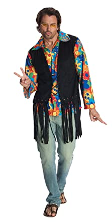70s Jackets, Furs, Vests, Ponchos  Flower Power Costume Vest Rubies Costume Heroes And Hombres Adult $20.85 AT vintagedancer.com