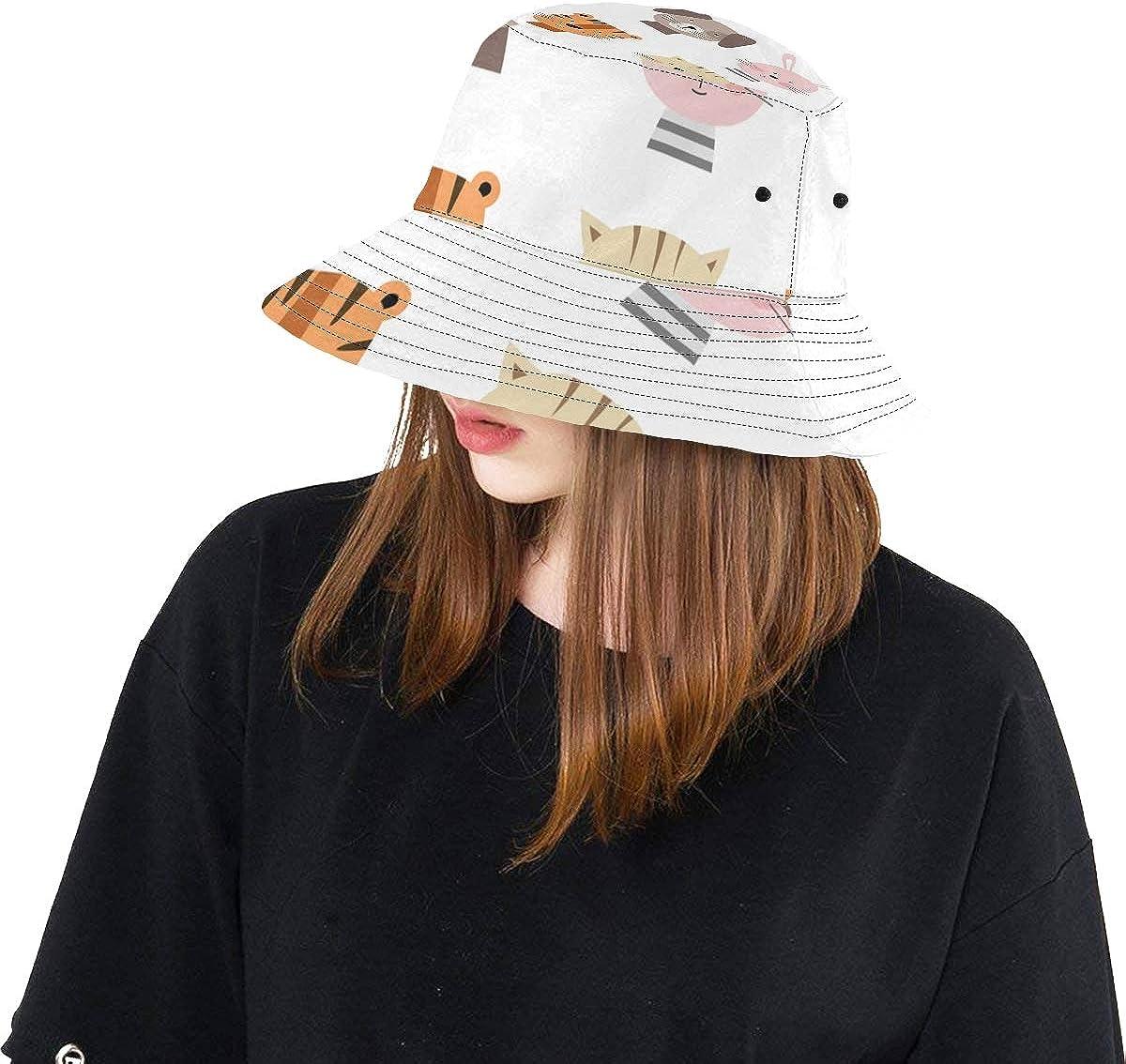 Cat Cute Lovely Pet Cartoon Summer Unisex Fishing Sun Top Bucket Hats for Kid Teens Women and Men with Packable Fisherman Cap for Outdoor Baseball Sport Picnic