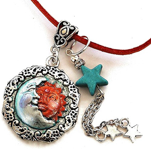 ue Half Moon Sun Stars Suede Leather Cord Necklace Bohemian Jewelry for Women ()