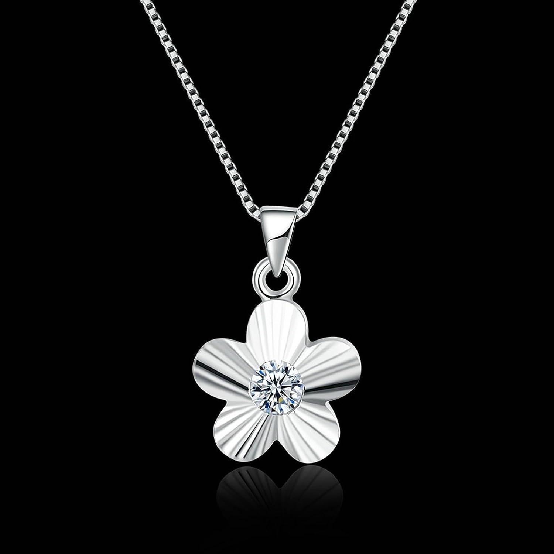 40+4CM Aokarry 925 Sterling Silver Women Necklace Five Petal Flower Type White Chain Length