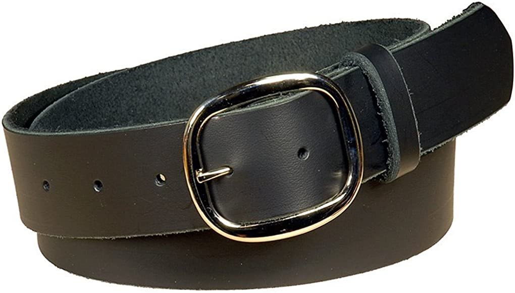 Mens Black Leather Belt with Removable Buckle 1.5 In Wide One Piece Leather 48-2560