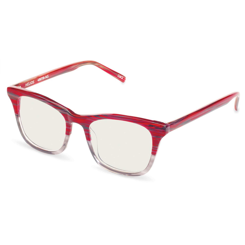 Boca Blu Blue Light Block Reading Glasses - Helios Anti-Eyestrain Computer Glasses, Gaming Unisex Eyewear - Acetate Frames, CR-39 Lenses - Magnification Strength +1 - Shiny Violet Fade Clear