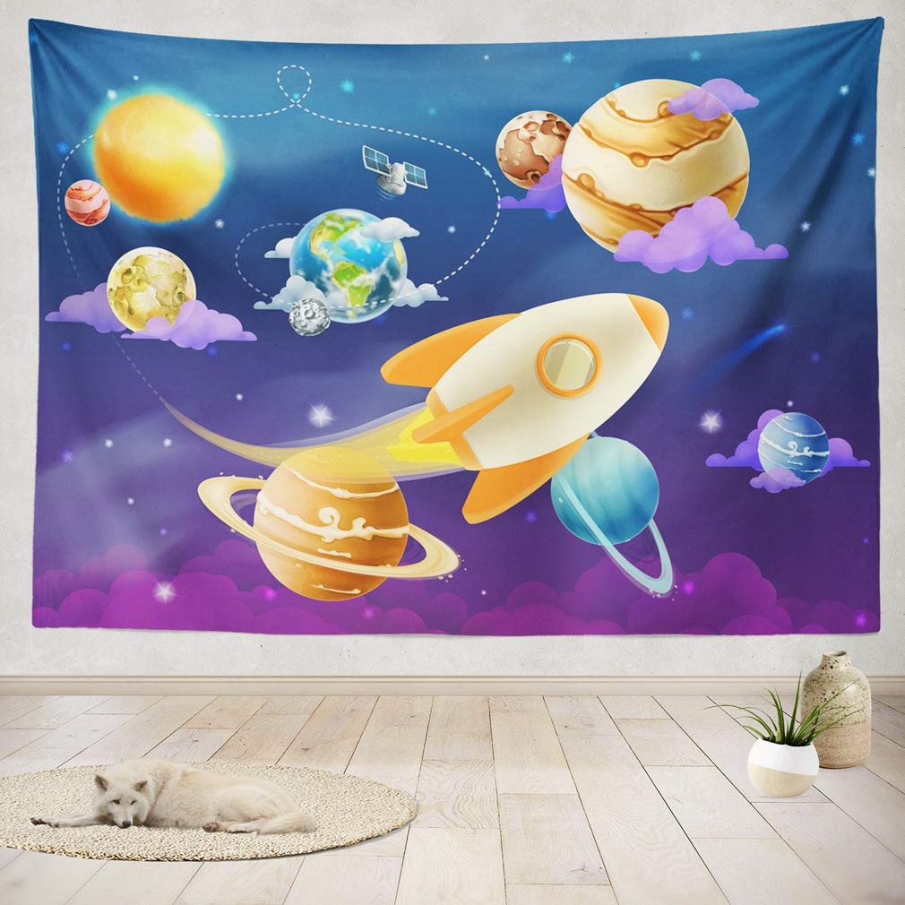 ASOCO Tapestry Wall Handing Solar System of Planets Wall Tapestry for Bedroom Living Room Tablecloth Dorm 50X60 Inches