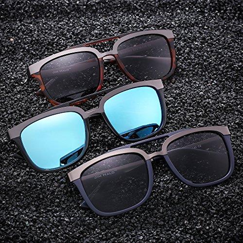 de Mujer Rectangulares Diseñador Negro Doble Sol Inoxidable Puente Browline Hombre Gafas Azul Acero RvdEqR
